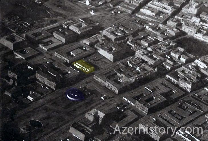 Биржевая площадь (Сахил). Синематограф «Эдиссон» (желтый) и «Рекорд» (синий). Фото В.Корвина-Кербера